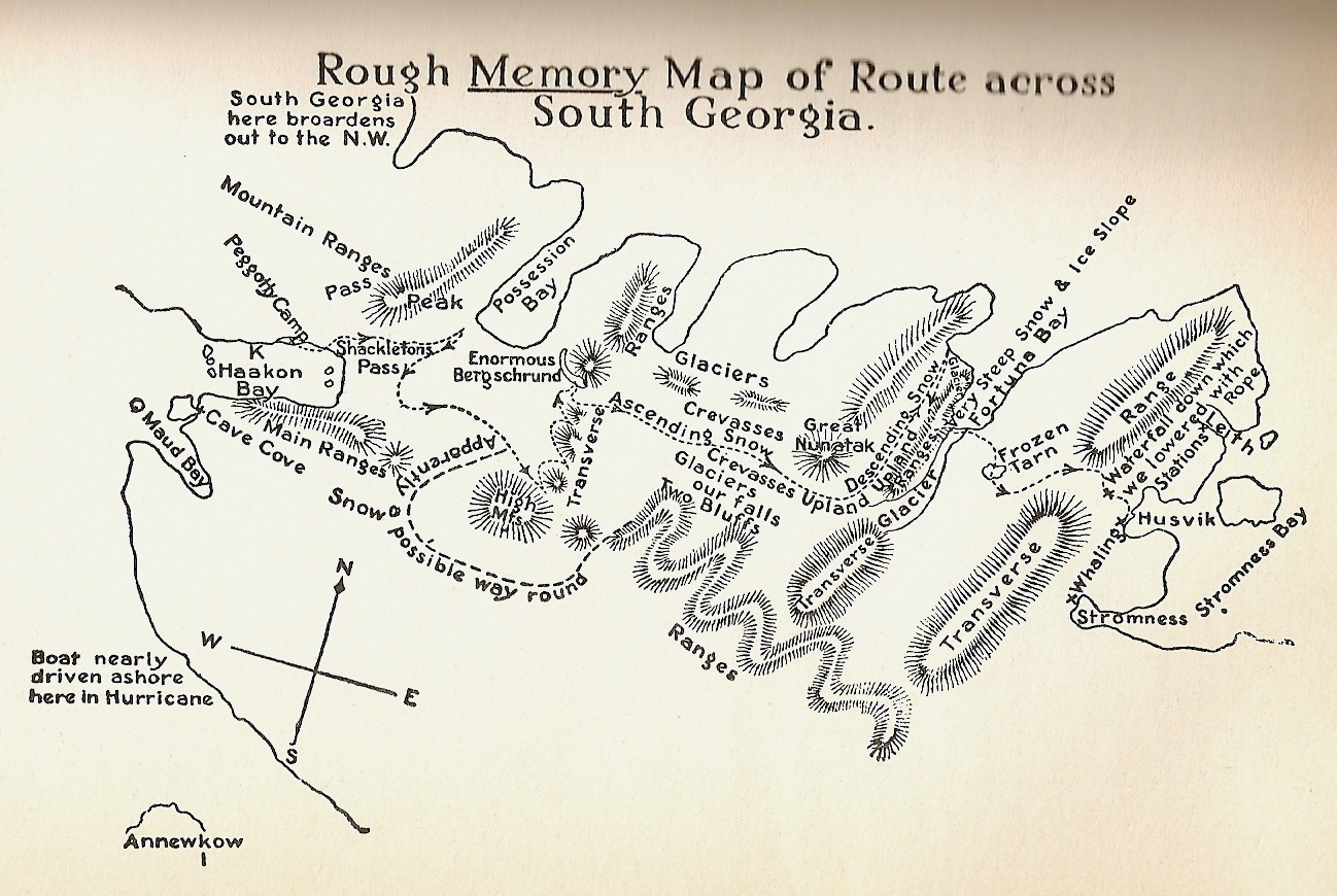 Shackleton's rough memory-map of the South Georgia crossing, showing Fortuna Bay