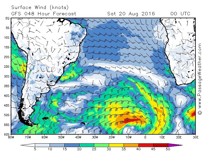 Leaving land: passage weather forecast for south atlantic 180816