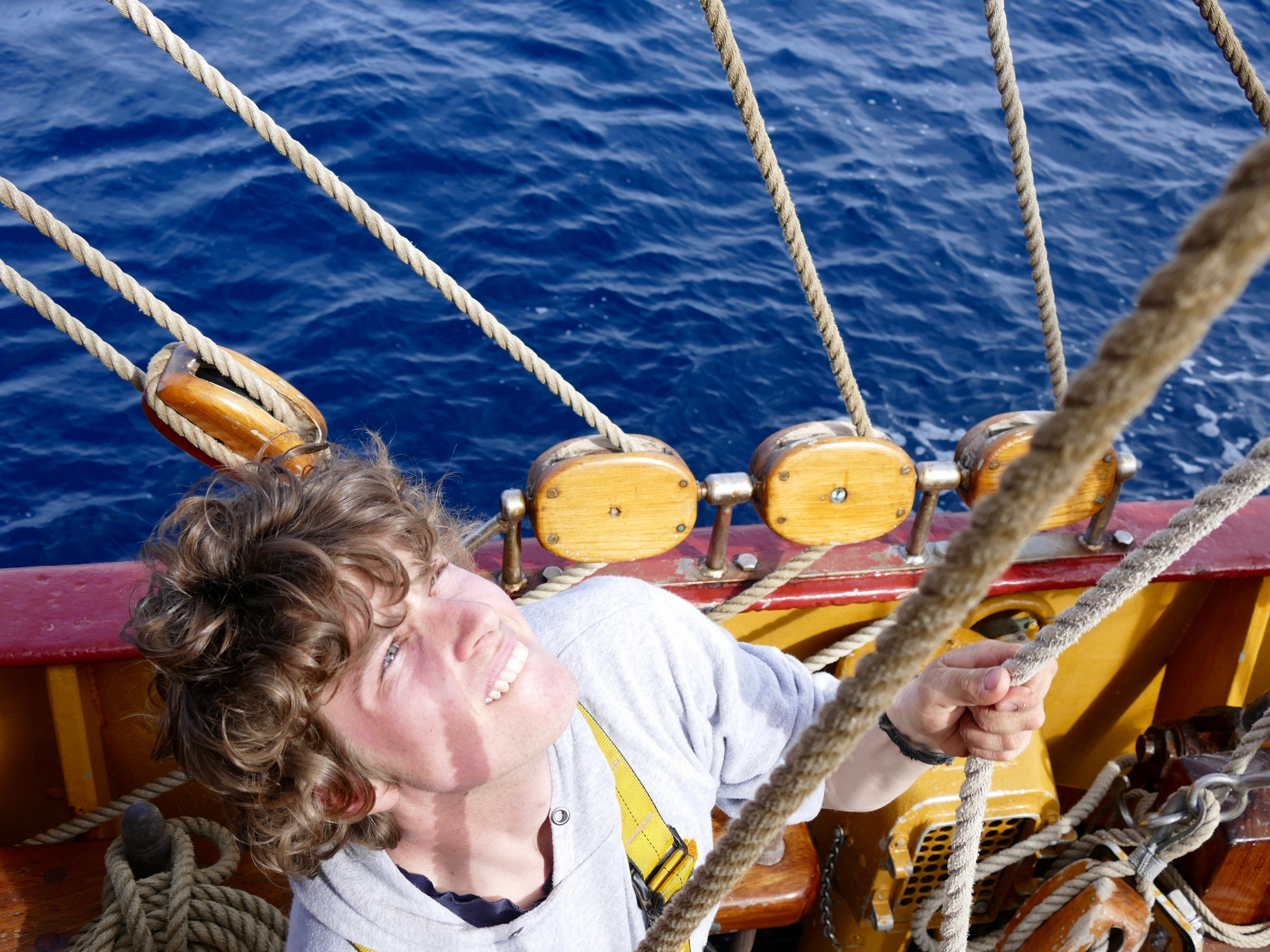 Leaving land and on our own: Matt looking up at lines in the South Atlantic