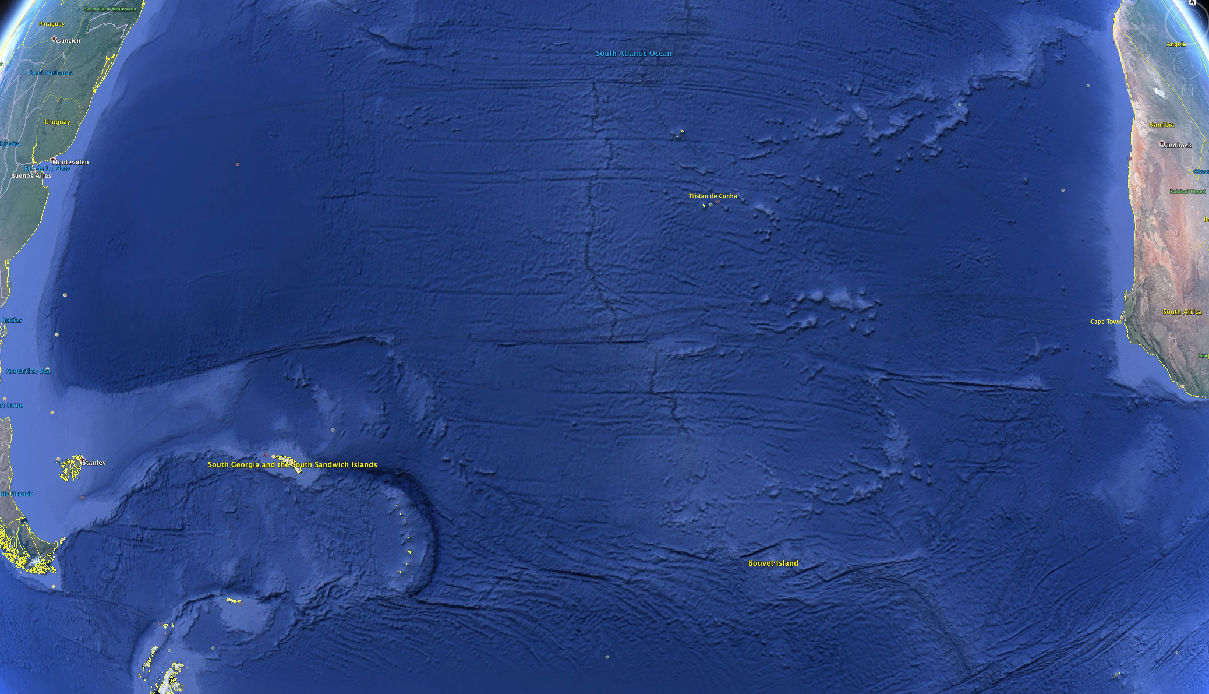 Leaving land: the blue of the South Atlantic