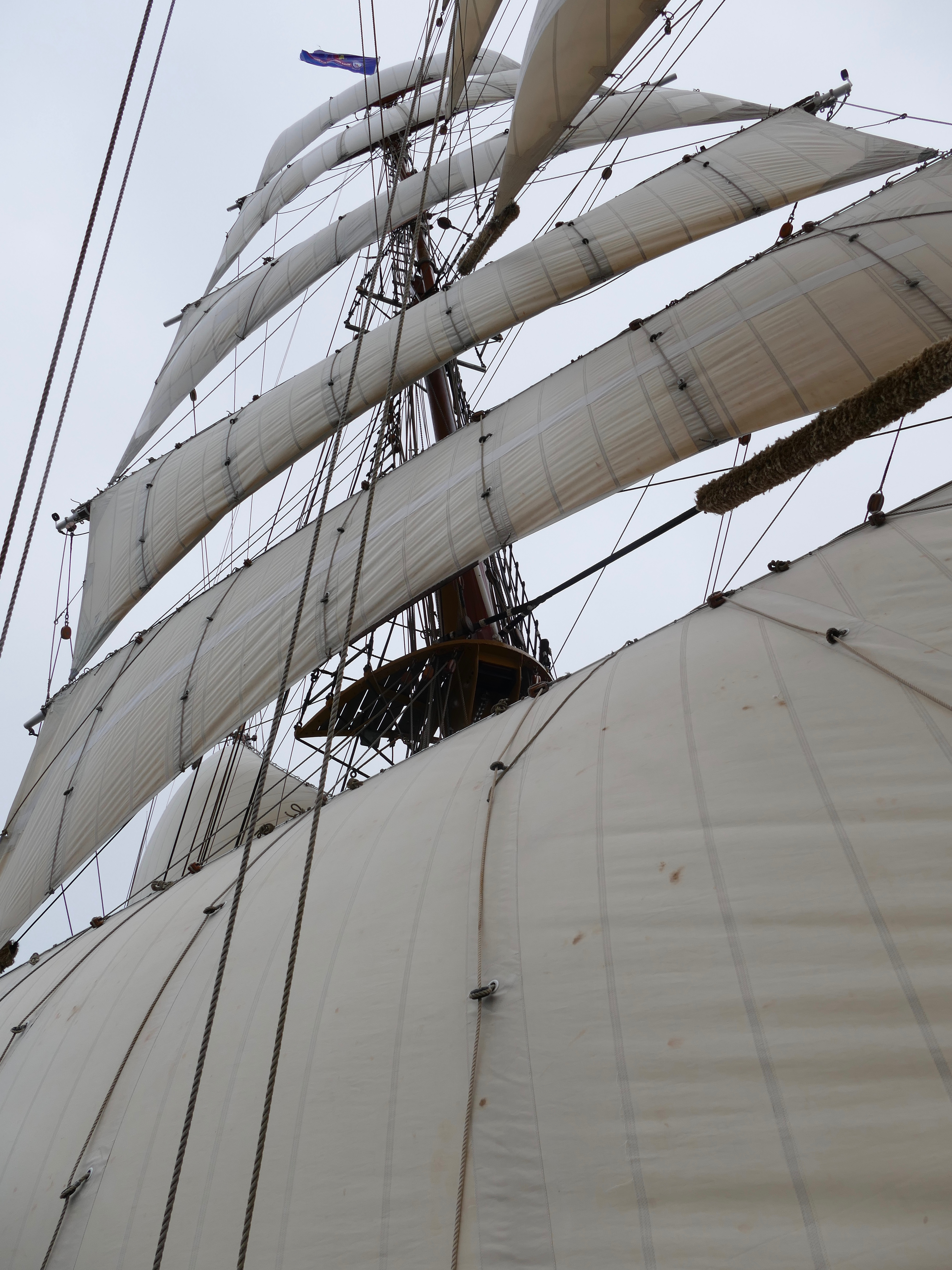 Six sails pulling hard on the foresail in the South Atlantic