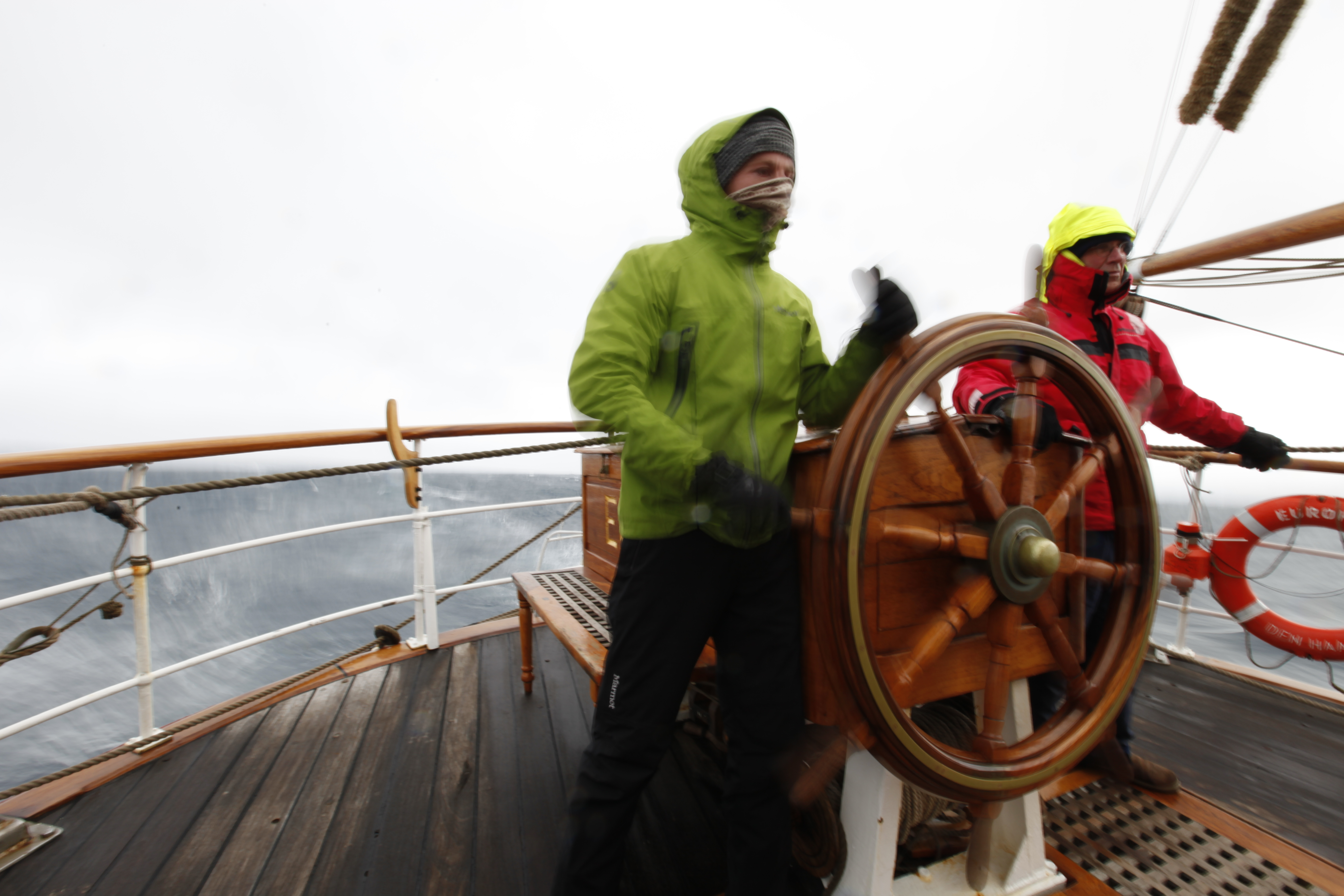 Pepe and Leen on the helm of Europa by Yasmin