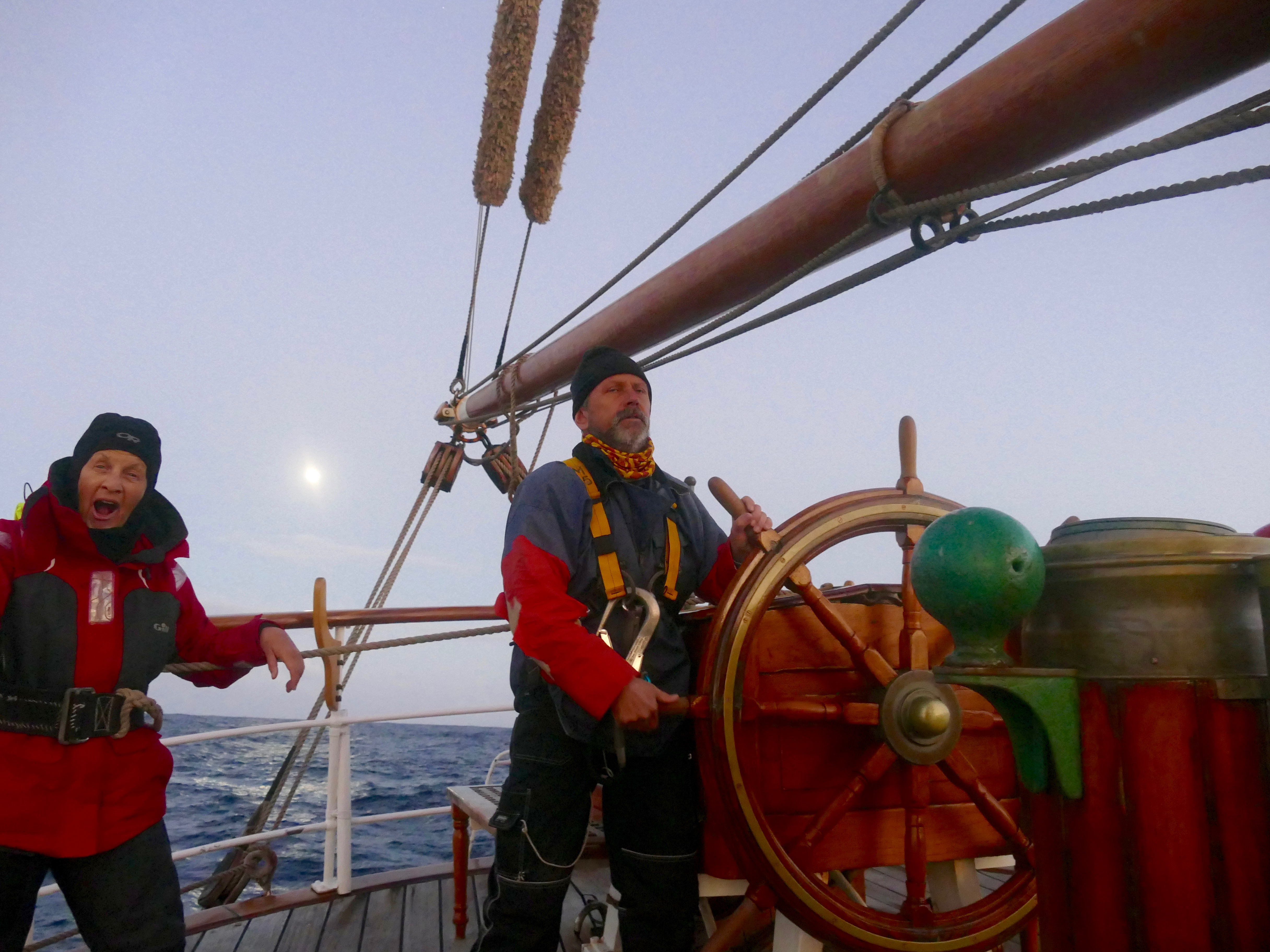 Mats and Lindsey after the last storm on the helm of Europa