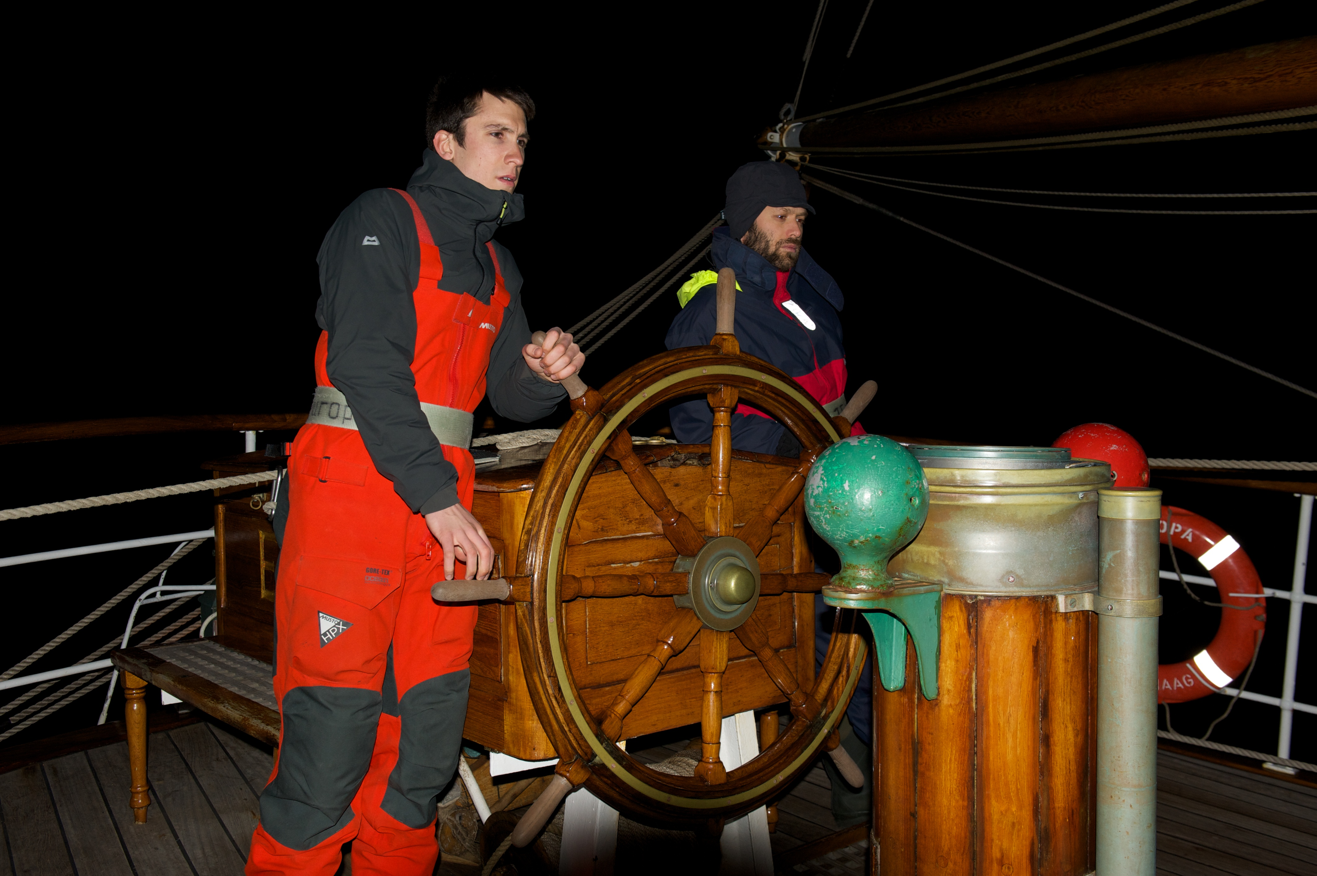 Ant and Felix at the helm