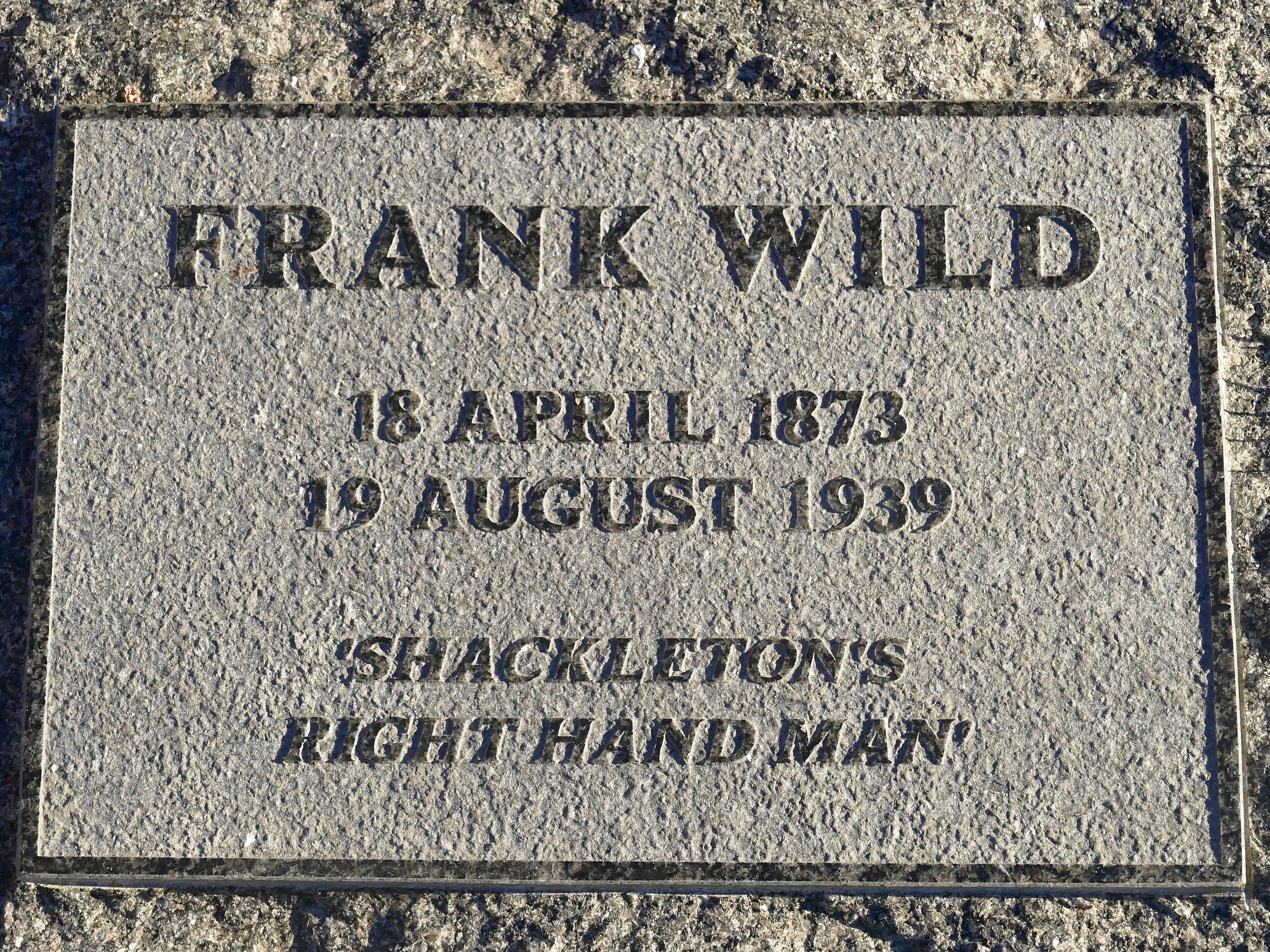 Wild's memorial stone, next to Shackleton at Grytviken